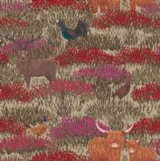 Lewis & Irene - Celtic Coorie - 6771 - Wildlife in the Heather on Sand - A413.2 - Cotton Fabric